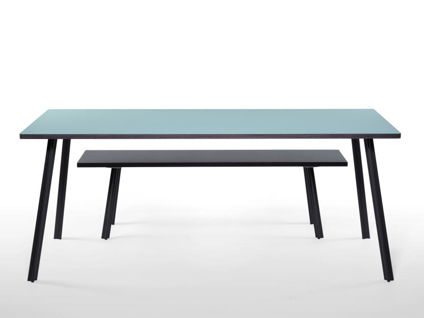 Bench/table combination with linoleum surface